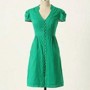 Anthro Maeve Secret Treasure Green Button Dress M